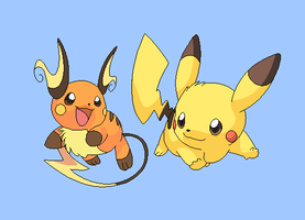 Raichu and pikachu base by michy123