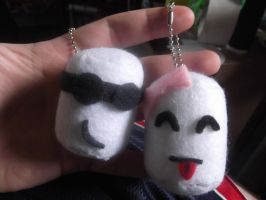 Marshmallow keychains by EmplehsADeviant