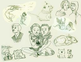 Sketchdump: Dragon Twins and friends by emera