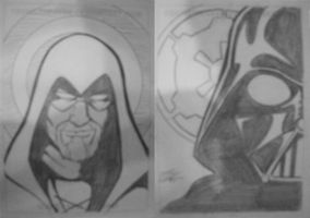Cincy Comicon: Green Arrow and Vader sketchcards by TravisTheGeek