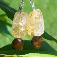 Citrine And Cats Eye Earrings by EmMakesStuff