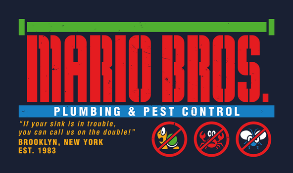 Mario Bros. Plumbing and Pest Control (Colour) by wildwing64