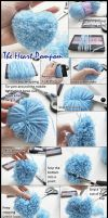 Heart Shaped Pompom Tutorial by VioletLeBeaux