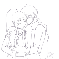 KennethxRei Embrace Lineart by chiyokins
