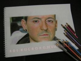 Chester Bennington COLOUR PENCIL VERSION WIP by im-sorry-thx-all-bye