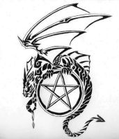 Dragon and Pentagram by Reptilia-7