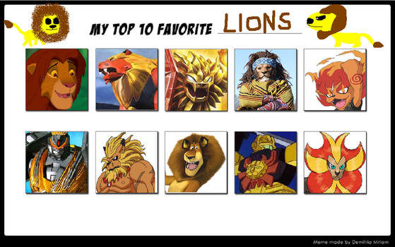 My Top 10 Favourite Lions by Elbeno62