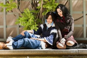Korra and Asami - Lenegd of Korra by Mostflogged