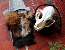 Bobcat and Leather Pouch by lupagreenwolf