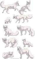 Fox linearts- 10 pack by DancingfoxesLF