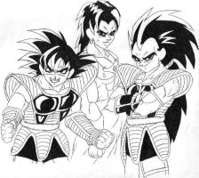 Turles, Brolli and Raditz by RoSohryu