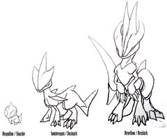 Sketch : Fakemon 5, 6 and 7 by Rena-Circa