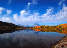 reflections on oxbow bend by mikewheels