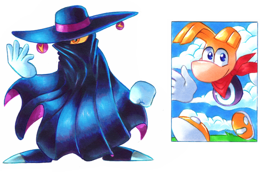 Rayman ACEO and Mr. Dark by Strixic