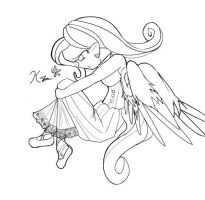 Lineart: Gothic Fluttershy by Kei-Waza