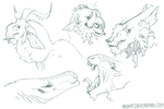 Monster Sketches by Hauket