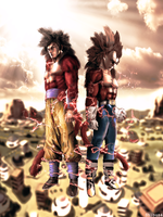 Goku and Vegeta ssj4 real style by Shibuz4