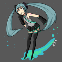 Quick Miku Drawing by JerryRC