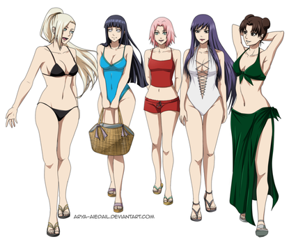 Kunoichi - Going to the Beach by Arya-Aiedail