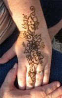 Henna Lotus and Vine on Hand by flowerwills