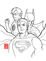 Superman, Batman and Green Lantern by artofJEPROX