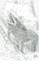 Lone Howling Wolf - Traditional Pencils on Bristol by ADickens-Rusty