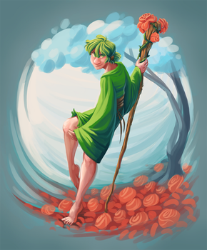 Druid of the roses by SirCyanblue