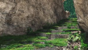 Road in crevice by FireKDragon