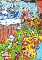 Yoshi Four Seasons Contest by PaperLillie