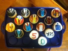 50th Doctor Who Birthday Cupcakes by snowsuper123