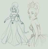 Sketches Designer Jasmine and Semi Realistic Tiana by madam-marla