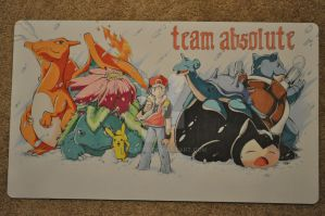Custom Playmat: RED and his team (Pokemon) by ccayco
