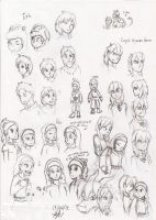 sketches. my characters in human form by pauladrag17