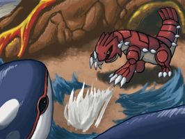 Kyogre vs Groudon Speedpaint by Mnemeth17