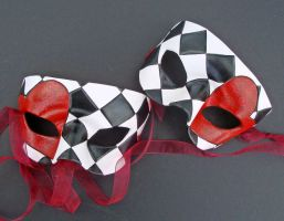 Harlequin Hearts,leather masks by merimask