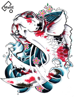 Japaneese Koi Tattoo Flash by o0MattE0o
