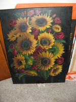 Another sun flower and poppy painting by Arafelle