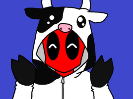 Deadpool In A Cow Suit by V1EWT1FUL