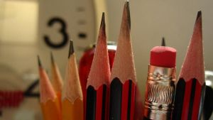 Pencils and a clock by feureau