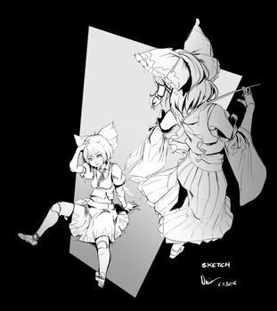 Touhou: Don't mess with Reimu - Sketch WIP by Nsio