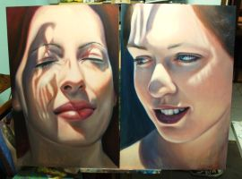 Two work in progress paintings by bronart