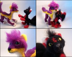 Phere and Sagome needle felted plushes by SnowFox102