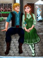 Anna and Kristoff by Mareishon