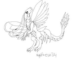 Butterfly dragon lineart by CanineCriminal