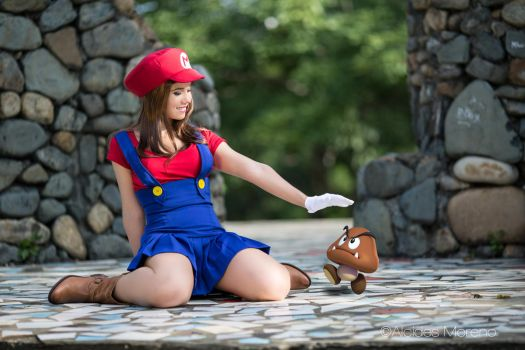 Maria Bros and Goomba by Windelle
