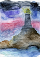 Lonely lighthouse in colours of outer space by cemerald