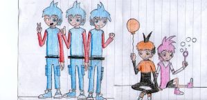 gijinka angry birds-the blues,stella and bubbles by maestrox545