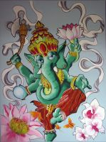 Ganesha on Canvas by kellogsJ