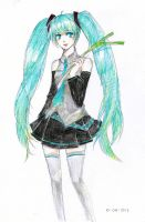 Miku coloured sketch by sawa-rint