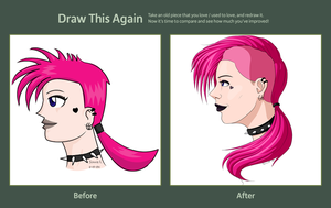 Pink-Haired Girl: Before and After by SunnieF